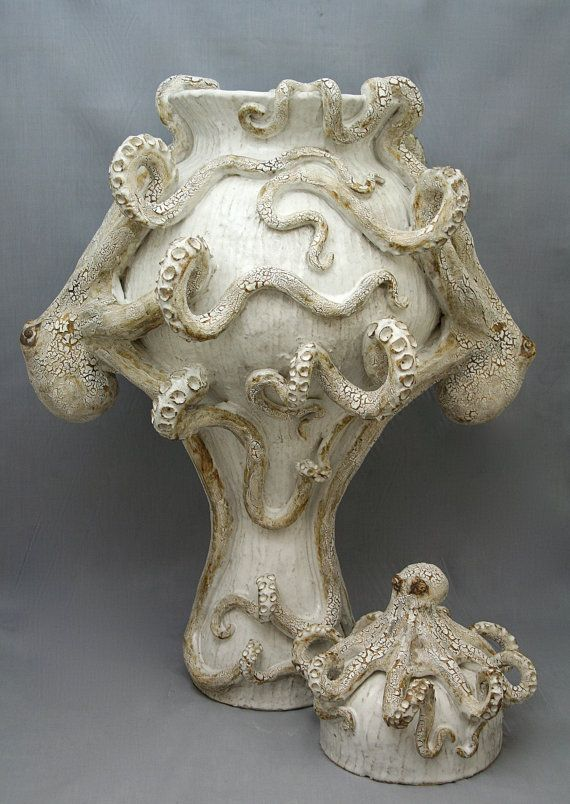 Giant Ceramic Octopus Vase / Urn by Shayne Greco Beautiful Shabby Chic Mediterranean Sculpture Pottery on Etsy, $1,800.00