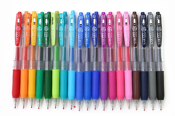 Zebra Sarasa Push Clip Gel Ink Pen - 0.5 mm - Best. Pens. Ever! Bright colors, ink lasts forever, smooth flow, and handy push-style clip that never breaks off! I have all 20 colors and use them to color-code my planner!