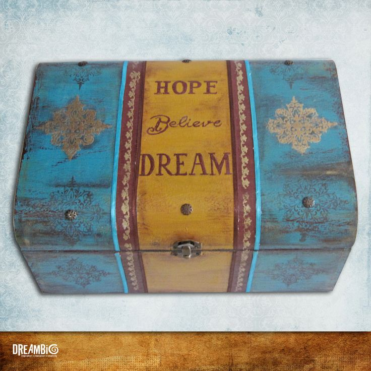 A hand painted wooden treasure box, full of memories, wedding gift,turquise