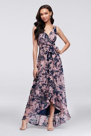86a89f293d Printed Chiffon Faux-Wrap Bridesmaid Dress Style F19748P