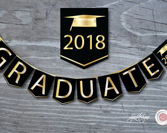 Digital Black and Gold Graduation Banner, Class, Graduate, Graphic, Grad, Graduation Decorations, Scrapbook Supplies, Art