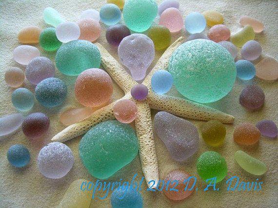 SALE 16 X 20 Beach Sea Glass Art Print -L- Starfish Explosion