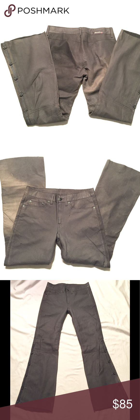 Vintage Diesel leather moto pants jeans Small NWOT NWOT Please pay attention to measurements here. Tag is 26, but it's Diesel. Never worn, in storage for almost 20 years! Thick soft gray leather with distressed destroyed finish, amazing buttons and details. Waist is 28, rise is 8.5, upper hip is 16 across (where jeans pocket area is), inseam/outseam 29/39, 20 inch leg opening. Lined in soft Floral material. Very unique and beautiful. Stored hygienically in NON sterile home. Diesel Pants Boot…