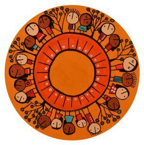 de la serie RONDAS AL AIRE LIBRE-35cm diámetro-técnica mixta sobre madera-C001