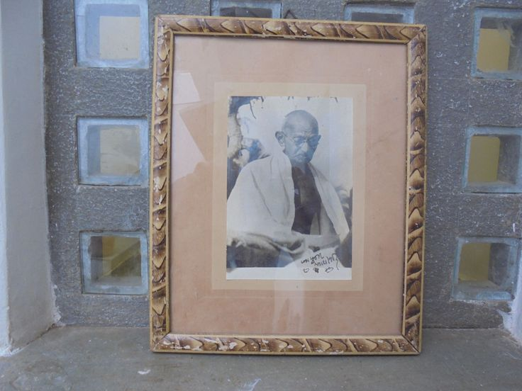 1947 Mahatma Gandhi Photograph with Printed Signature in Gujarati (Blessings, Bapuji, 1947). Historical. Signed. Spinning Wheel. Khadi. by Lallibhai on Etsy