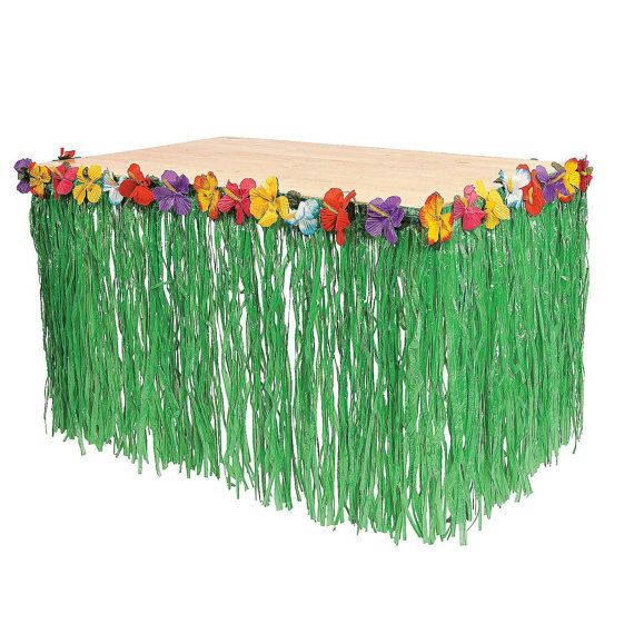 Green Grass Table Skirt with Hibiscus Flower Lei Border Tropical Hula Hawaiian…