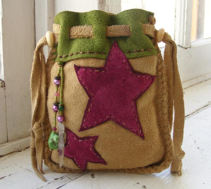 SUPERSTAR deerskin Leather SUEDE Medicine Bag / Spirit Pouch with pearl, rock quartz, antique beads. $68.00, via Etsy.