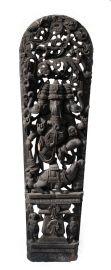 Ancien Panneau bois sculpté statue hindoue Ganesha 210 cm-82 Nepal-Inde