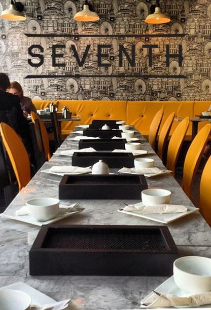 Seventh Tea Bar | Costa Mesa, CA #laurenmaximovich #interiordesign #restaurant