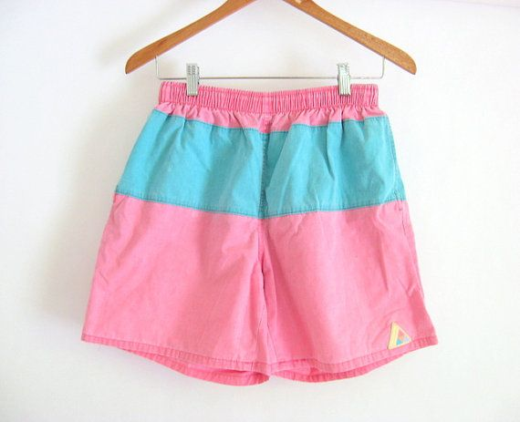 Men's Early 90s Color Block Board Shorts size Medium by ACTUALTEEN, $16.00