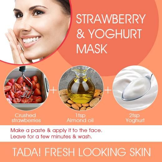 Want that fresh & glowing skin? Try out the Strawberry & Yoghurt Mask.