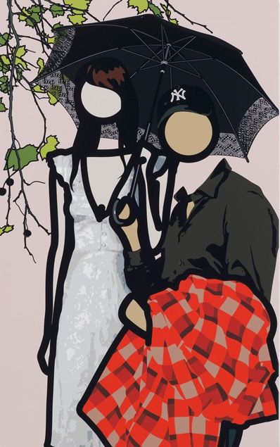 """Julian Opie (British, b. 1958) - """"At the gardens with Ken and Yayoi"""", 2011 - Silkscreen on painted wooden board"""
