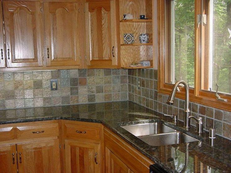 Fantastic Wooden Kitchen Cabinet With Dark Stone Wall For The Kitchen Backsplash