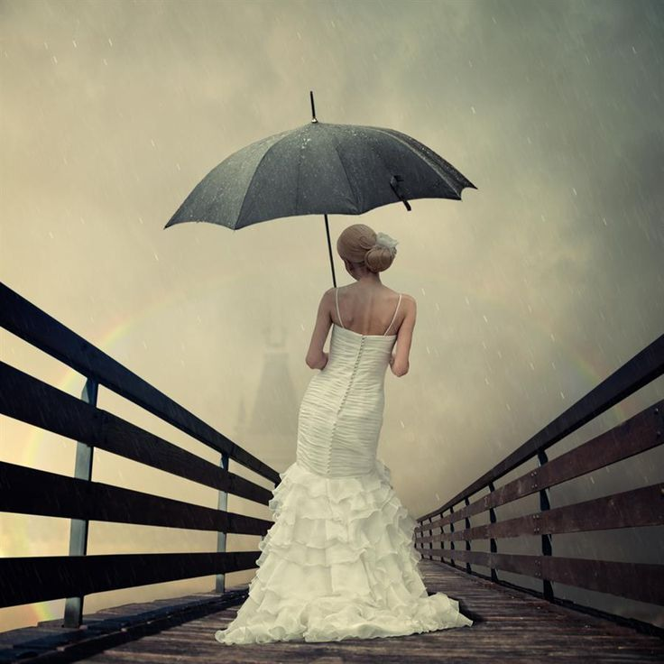 Bride in the rain.
