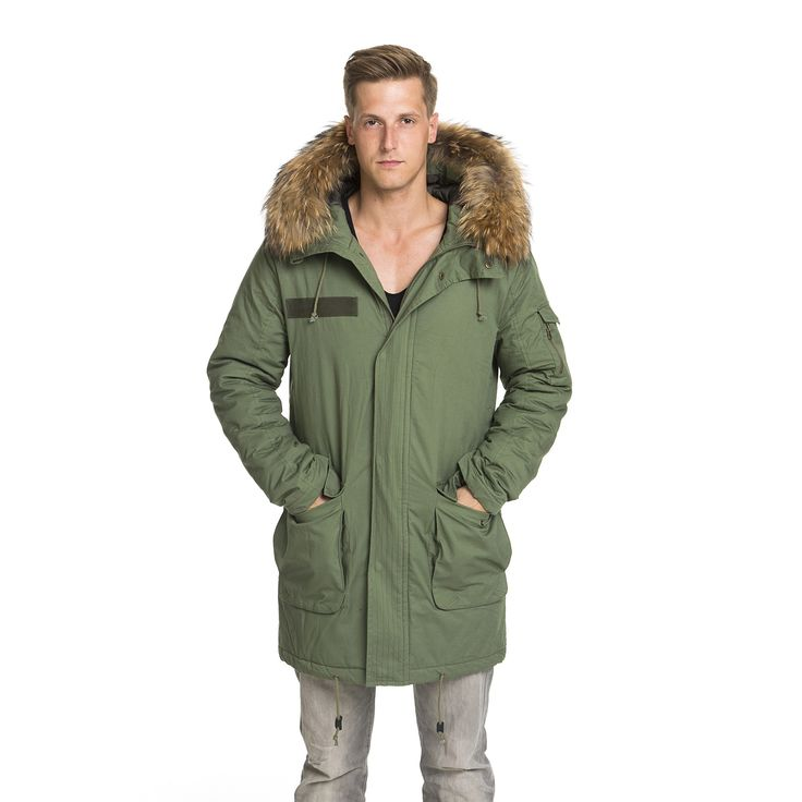 Mens Parka from #welovefurs  Straight, simple & with an XXL Fur Hood. #fur #parka