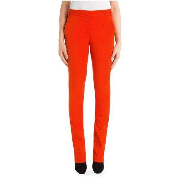 Stella McCartney Jodi Wool Trouser (16 550 UAH) ❤ liked on Polyvore featuring pants, capris, cropped, red, stella mccartney, wool skinny pants, wool pants, zipper trousers and red skinny pants