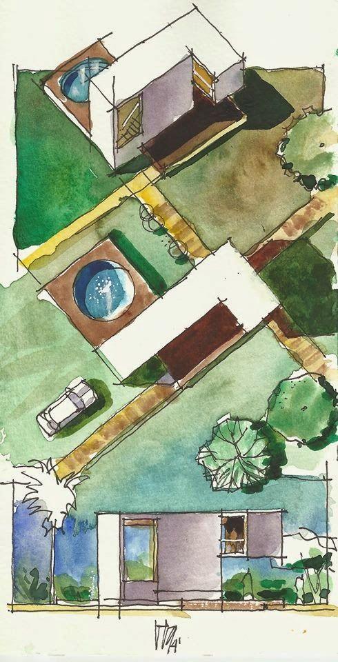 REVISTA DIGITAL APUNTES DE ARQUITECTURA: Bocetos de proyectos arquitectónicos con la técnica de la acuarela - Arq. Eloy Vera Lahaye.
