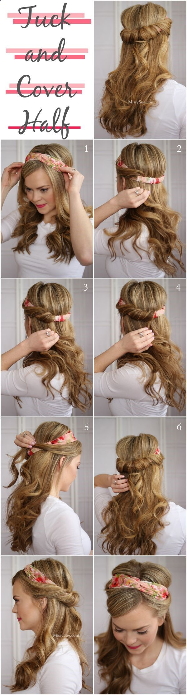 Tuck and Cover Half up hairstyle, the perfect way to your favorite headband!:: Pin Up Hair:: Vintage hairstyles:: retro headband:: Half up half down