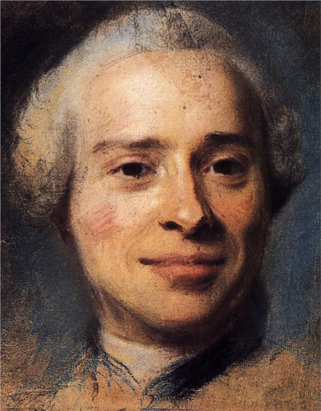 "Jean Le Rond d'Alembert. Brillant Mathematician who co-edited the French Enlightment  ""Encyclopedie."" Portrait by  Maurice Quentin de La Tour. 1753."