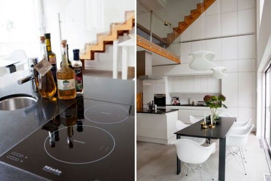 Scandinavian Modern Interior Design in Stylish and Fresh Appearances : Awesome Modern Kitchen Design With Electric Stove And Darkwood Kitche...