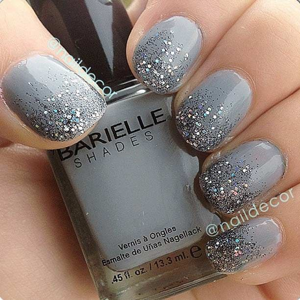 Gray Glitter Ombre Nail Design for Short Nails