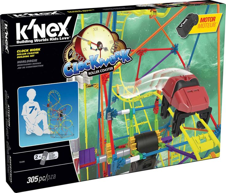K'NEX Clock Work Roller Coaster Building Set - Tick, Tock goes the coaster car on the Clock Work Roller Coaster Building Set, from K'NEX. The hour hand inspired, motorized coaster car lift sends the coaster car up the track and down a ride full of twists and turns. This set comes with 305 parts, primarily rods and connectors, to build a K'NEX thrill ride!