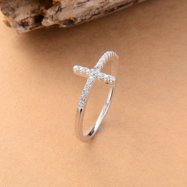 Sideways Silver Plated Cross Ring