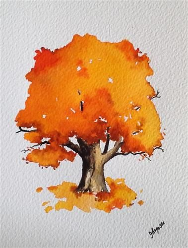 "Daily Paintworks - ""Original Watercolor Painting- Autumn in Maine Tree"" - Original Fine Art for Sale - © James Lagasse"