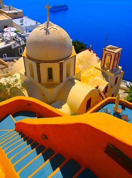 Santorini, Greece: Orange, Buckets Lists, Santorini Greece, Stairs, Blue, Color, Beautiful Places, Islands, Architecture