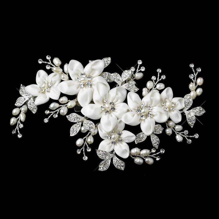 WF9636 - Vintage flower, pearl and crystal headpiece Buy Crystal, Swarovski and Bridal Jewellery Online - Rush Creations