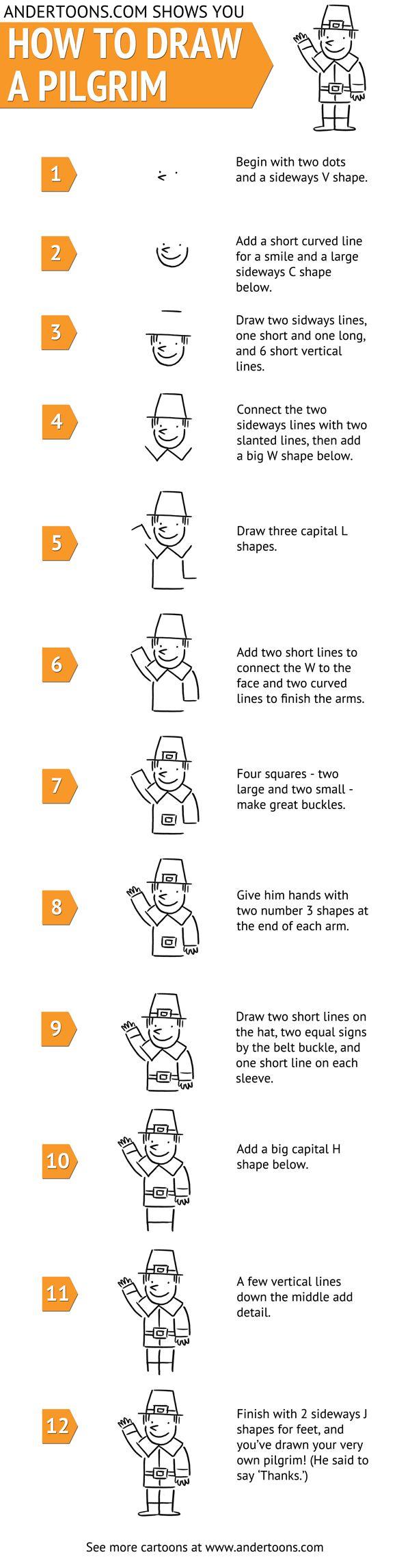 Draw A Cartoon Pilgrim on a bookmark! Free printable instructions.