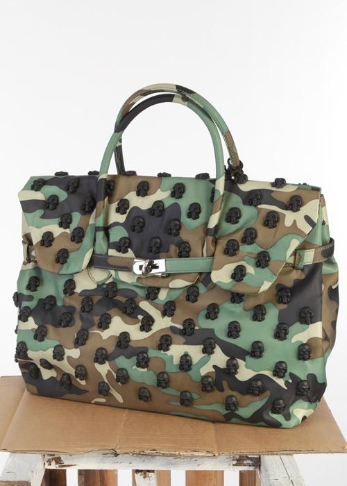 Tote Bag Camouflage Skulls schwarz: MIA BAG, Italy