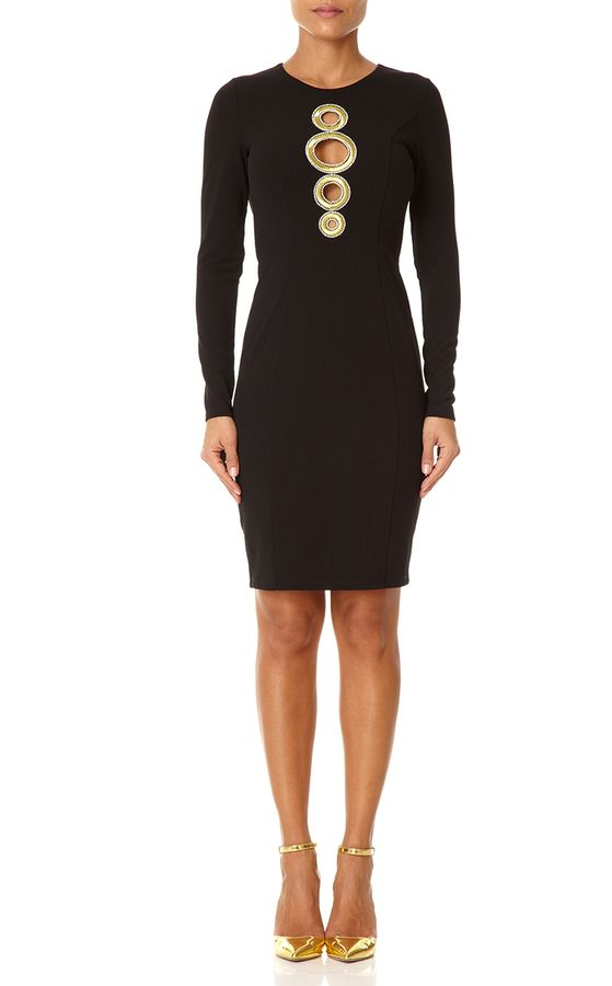 PAULETTE - Black Fitted Dress with Embroidery to the Front
