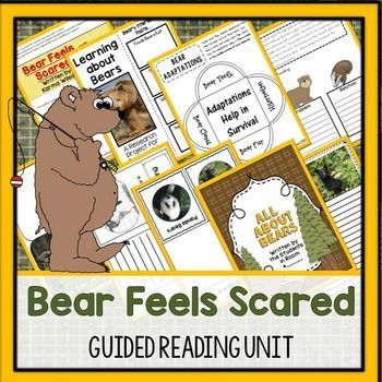 Bear Feels Scared is about Bear getting caught in a storm.  Themes explored through this book include storm safety This unit addresses schema building,vocabulary,  plot (problem/solution, character traits (character web), author's purpose, and lots of writing. For details, check out the product listing.