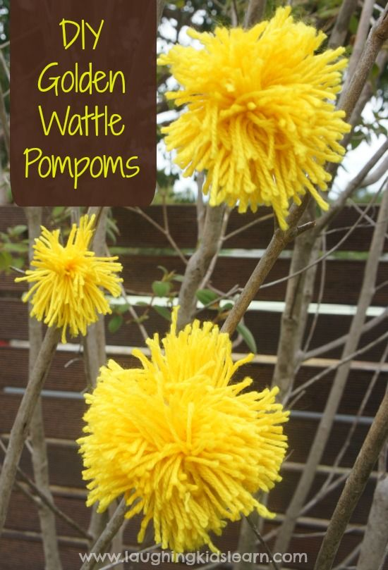 Golden Wattle Pompom craft activity for Australia Day - Laughing Kids Learn
