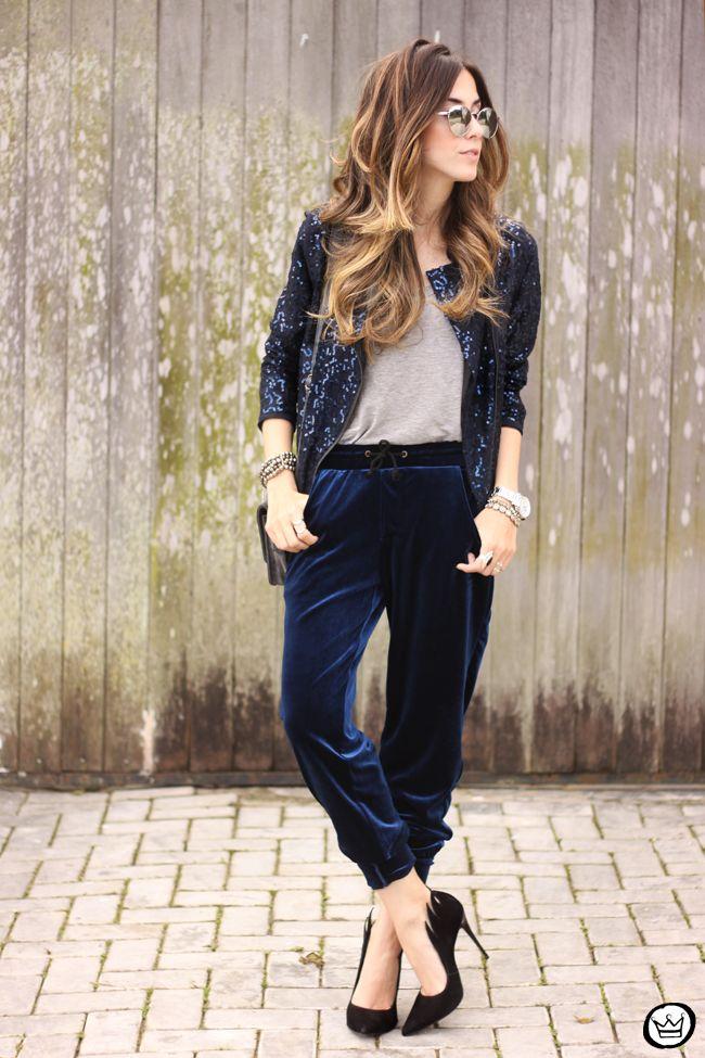 FashionCoolture - 28.07.2015 look du jour velvet pants sequined jacket (1)