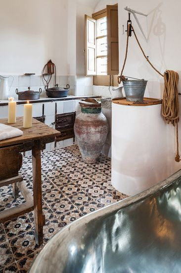 Bathroom in the former kitchen of a Sicilian estate in Noto, Sicily