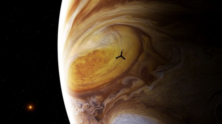The image of Jupiter is not a painting — it's a mosaic made from real data taken by the Voyager spacecraft. (NASA/JPL/Björn Jónsson/Seán Doran) This is an artist's conception of the Juno spacecraft flying over the Great Red Spot.
