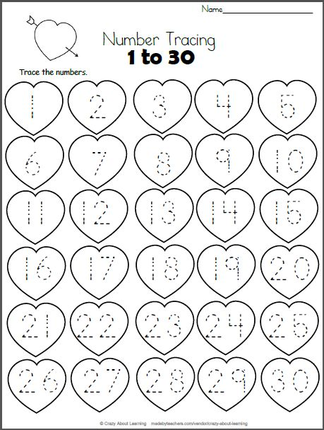 Free Heart Math worksheet.  Trace the numbers from 1 to 30 on the hearts.  This worksheet is a perfect valentine number practice printable for preschool and kindergarten students who are still learning their numb