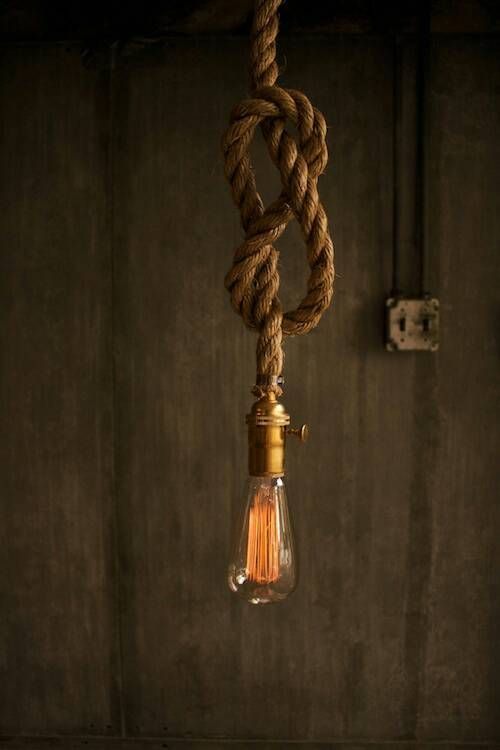 "Hemp rope with carbon filament ""Edison bulb""."