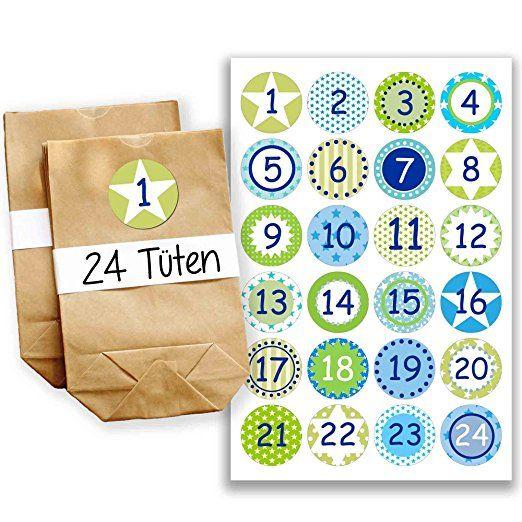 Adventskalender Miniset 13 - Aufkleber und Tüten