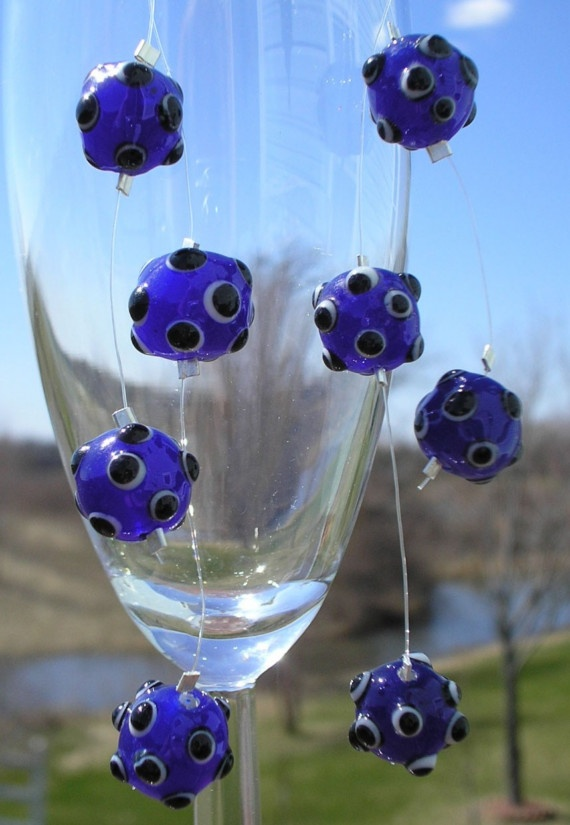 Earrings Blue and Black Asteroids by amystreasures on Etsy, $15.00