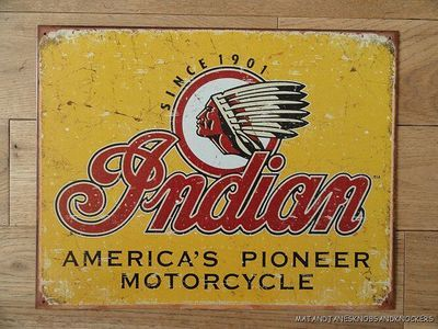 LARGE INDIAN AMERICA'S PIONEER MOTORCYCLE DECORATIVE METAL WALL SIGN on eBay!