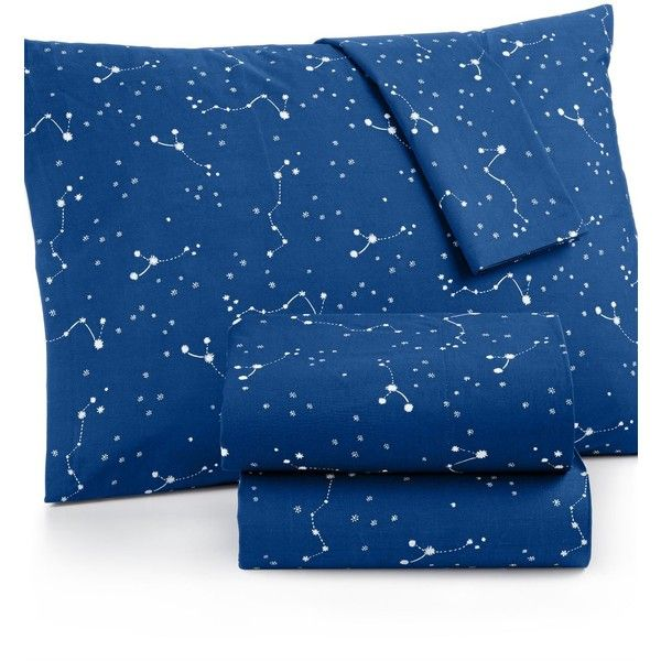 Martha Stewart Whim Collection Novelty Print Cotton Percale Twin Xl... ($80) ❤ liked on Polyvore featuring constellation navy, martha stewart bedding, martha stewart, navy blue bedding, dark blue bedding and navy bedding