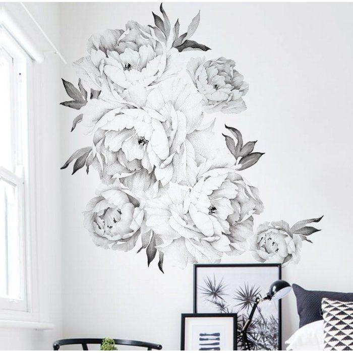 Peony Flowers Wall Decal Flower Wall Decals Flower Wall