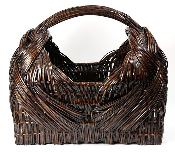 "Japanese large ikebana bamboo flower basket, cradle shaped, with handle, approx. 19""h x 20.5"" w"