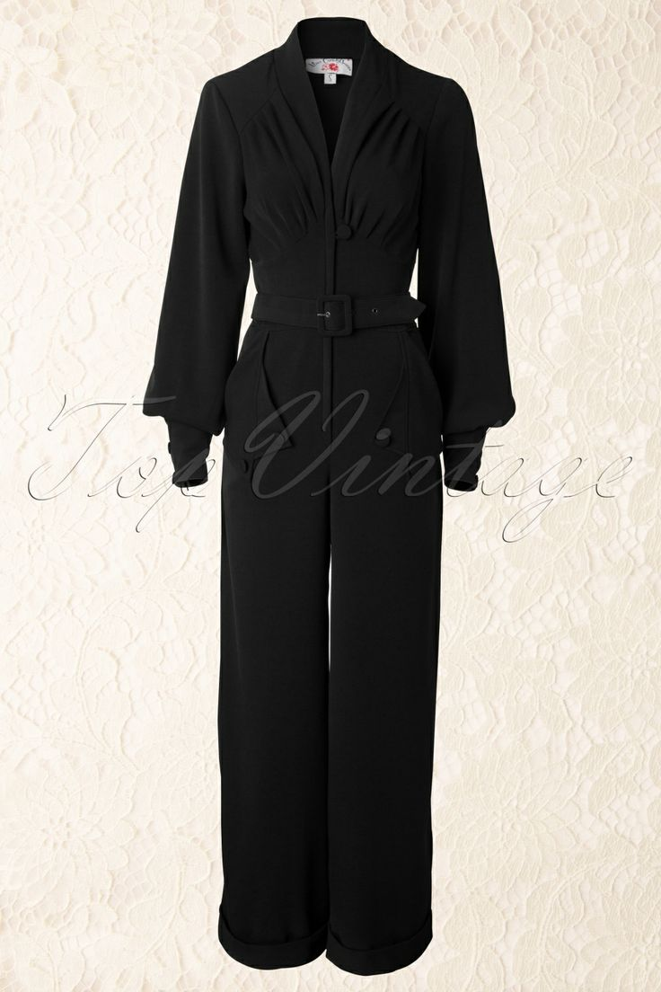 Miss Candyfloss - TopVintage exclusive ~ 40s Pearl Playsuit in Classy Black