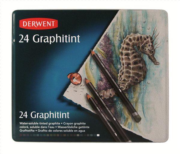 Kolorowe ołówki grafitowe Derwent Graphitint, 24 kolory