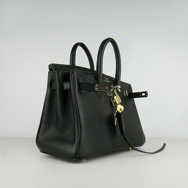 Hermes Black 25CM Birkin Clemence Leather Bag With Gold HW Product Model: Hermes Birkin 25CM  Availability: In Stock  Color: Black / Gold  Material: Calfskin Leather  Size: W25×H18×D13CM  Package: Hermes dust pouch, padlock, keys and key ornaments  Shipping: Free Price: $219