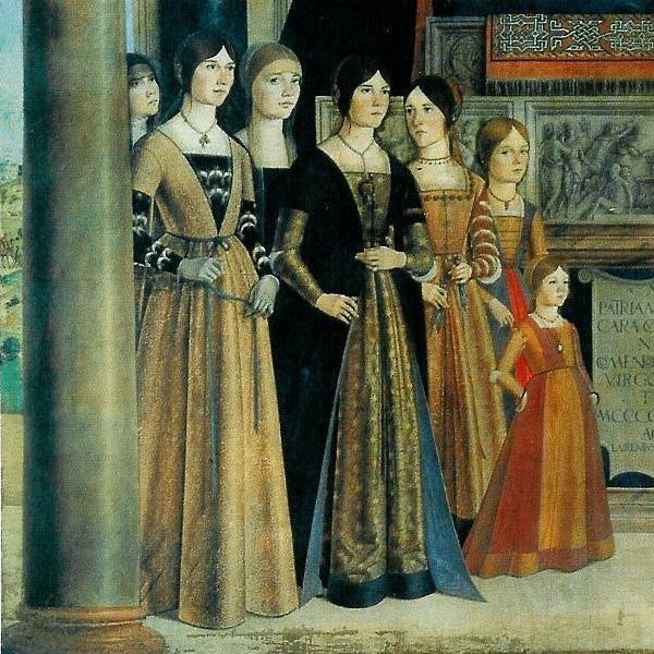 Women in Ferrara, Italy. 1480-1540    Lorenzo Costa, 1488: The Daughters of Giovanni II Bentivoglio and Ginevra Sforza  (From the left: Camilla, Bianca, Francesca, Violante, Laura, Isotta, Eleonora)